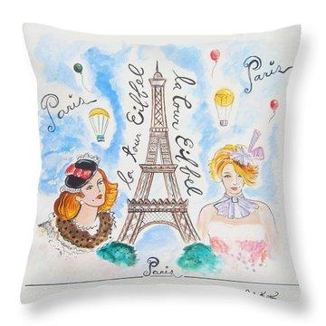 Paris Girls Throw Pillow by John Keaton
