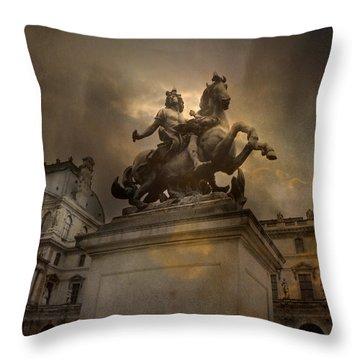 Paris - Louvre Palace - Kings Of Paris - King Louis Xiv Monument Sculpture Statue Throw Pillow by Kathy Fornal