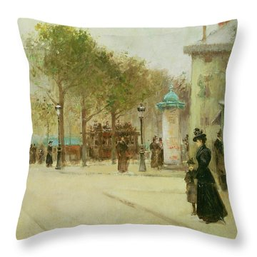 Paris Throw Pillow by Paul Cornoyer