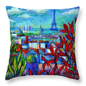 Paris Rooftops - View From Printemps Terrace   Throw Pillow by Mona Edulesco