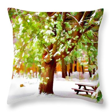 Park In Winter Throw Pillow by Lanjee Chee