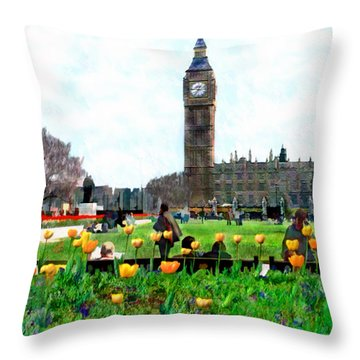 Parliament Square London Throw Pillow by Kurt Van Wagner