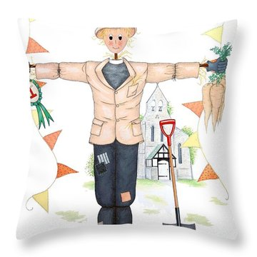 Parson Scarecrow Throw Pillow by Sandra Moore