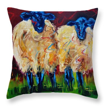 Party Sheep Throw Pillow by Diane Whitehead