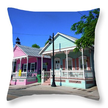 Pastels Of Key West Throw Pillow by Susanne Van Hulst