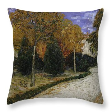 Path In The Park At Arles Throw Pillow by Vincent Van Gogh