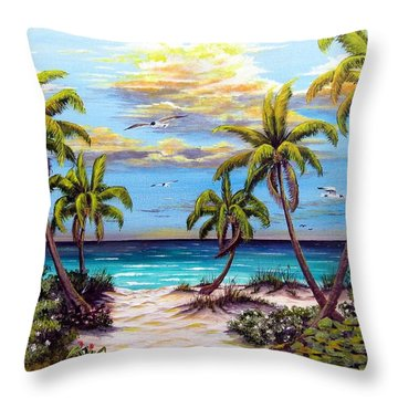Pathway To The Gulf Throw Pillow by Riley Geddings