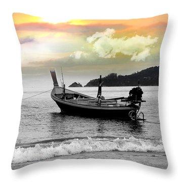 Patong Beach Throw Pillow by Mark Ashkenazi