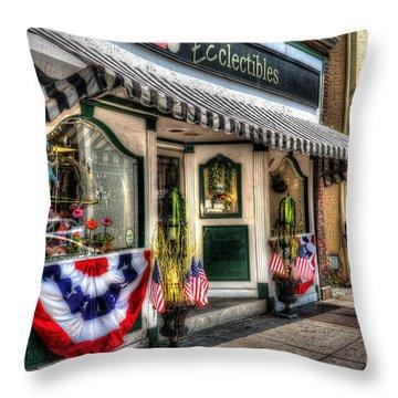 Patriotic Street Throw Pillow by Debbi Granruth