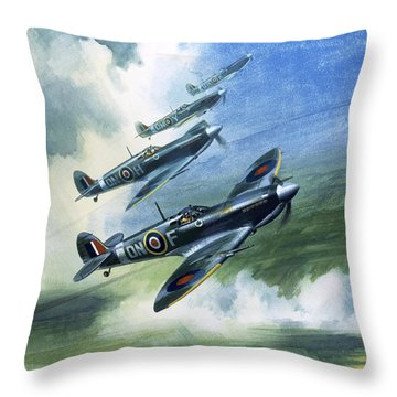 Patrolling Flight Of 416 Squadron, Royal Canadian Air Force, Spitfire Mark Nines Throw Pillow by Wilf Hardy