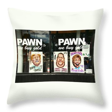 Pawn Shop Humor Throw Pillow by Allen Beatty