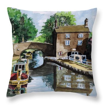 Peacfull House On The Lake Throw Pillow by Alban Dizdari