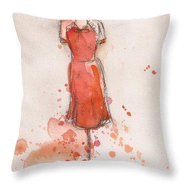 Peach And Orange Dress Throw Pillow by Lauren Maurer