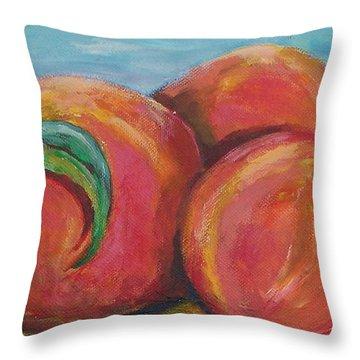 Peaches Throw Pillow by Eric  Schiabor