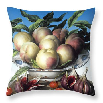 Peaches In Delft Bowl With Purple Figs Throw Pillow by Amelia Kleiser