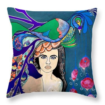 Peacock Bride Throw Pillow by Amy Sorrell