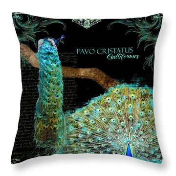 Peacock Pair On Tree Branch Tail Feathers Throw Pillow by Audrey Jeanne Roberts