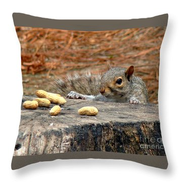 Peanut Surprise Throw Pillow by Sue Melvin