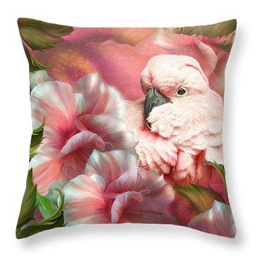 Peek A Boo Cockatoo Throw Pillow by Carol Cavalaris