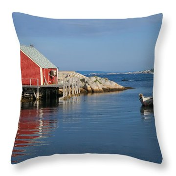 Peggys Cove Throw Pillow by Thomas Marchessault