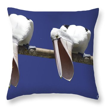 Pelican Burp Throw Pillow by Avalon Fine Art Photography