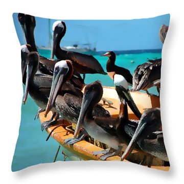 Pelicans On A Boat Throw Pillow by Bibi Romer