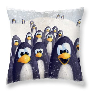 Penguin Winter Throw Pillow by David Breeding