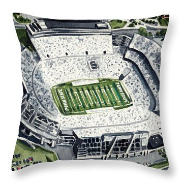 Penn State Beaver Stadium Whiteout Game University Psu Nittany Lions Joe Paterno Throw Pillow by Laura Row