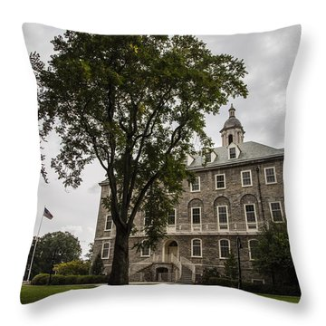 Penn State Old Main And Tree Throw Pillow by John McGraw