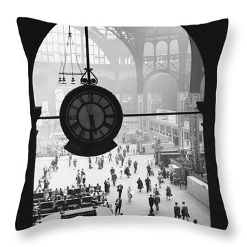 Penn Station Clock Throw Pillow by Van D Bucher and Photo Researchers
