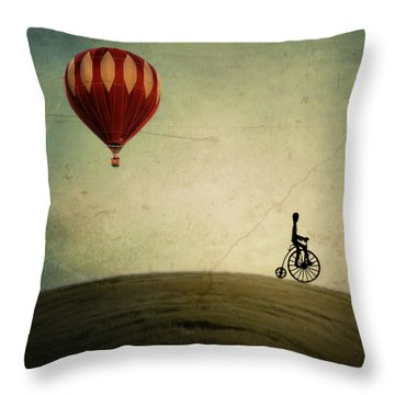 Penny Farthing For Your Thoughts Throw Pillow by Irene Suchocki