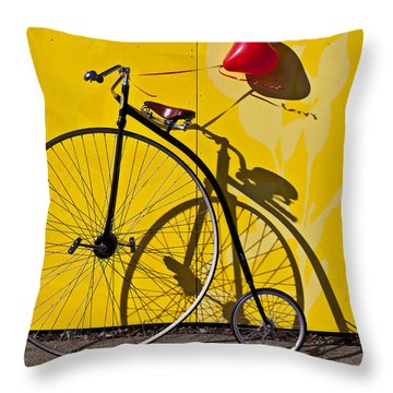 Penny Farthing Love Throw Pillow by Garry Gay