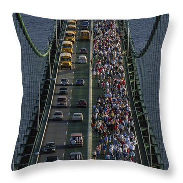 People Participating In The Annual Throw Pillow by Phil Schermeister