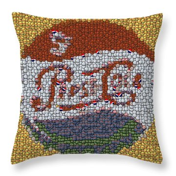 Pepsi Bottle Cap Mosaic Throw Pillow by Paul Van Scott