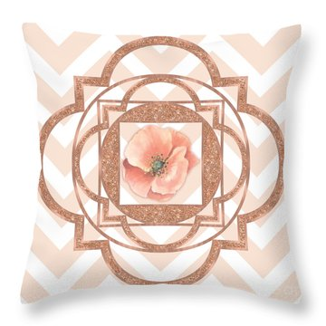 Persian Poppy, Rose Gold Quatrefoil, Chevron Throw Pillow by Tina Lavoie