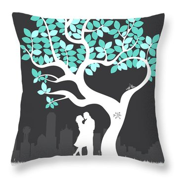 Personalized Dallas Texas Skyline Wedding Gift Throw Pillow by Aged Pixel