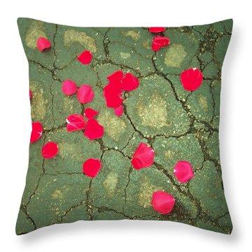 Petals On Asphalt Throw Pillow by Anna Villarreal Garbis