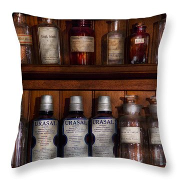 Pharmacy - Bonafide Cures Throw Pillow by Mike Savad