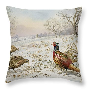 Pheasant And Partridges In A Snowy Landscape Throw Pillow by Carl Donner