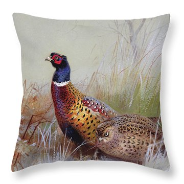 Pheasants In The Snow Throw Pillow by Archibald Thorburn