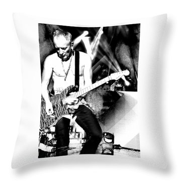 Phil Collen Of Def Leppard 4 Throw Pillow by David Patterson