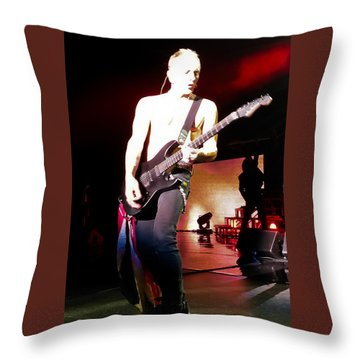 Phil Collen Of Def Leppard 6 Throw Pillow by David Patterson