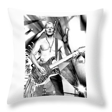Phil Collen With Def Leppard Throw Pillow by David Patterson