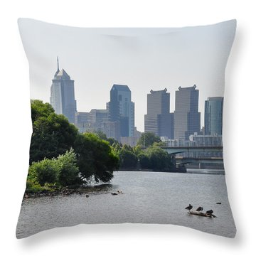 Philadelphia Along The Schuylkill River Throw Pillow by Bill Cannon