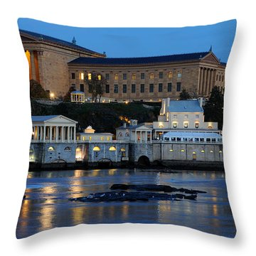 Philadelphia Art Museum And Fairmount Water Works Throw Pillow by Gary Whitton