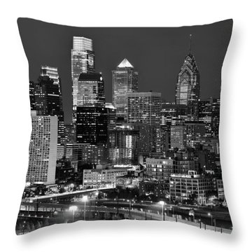 Philadelphia Skyline At Night Black And White Bw  Throw Pillow by Jon Holiday