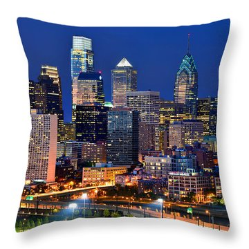 Philadelphia Skyline At Night Throw Pillow by Jon Holiday