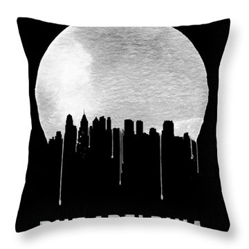 Philadelphia Skyline Black Throw Pillow by Naxart Studio