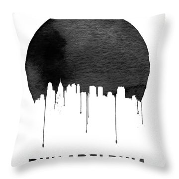 Philadelphia Skyline White Throw Pillow by Naxart Studio