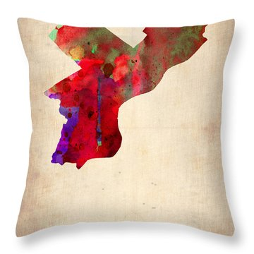 Philadelphia Watercolor Map Throw Pillow by Naxart Studio